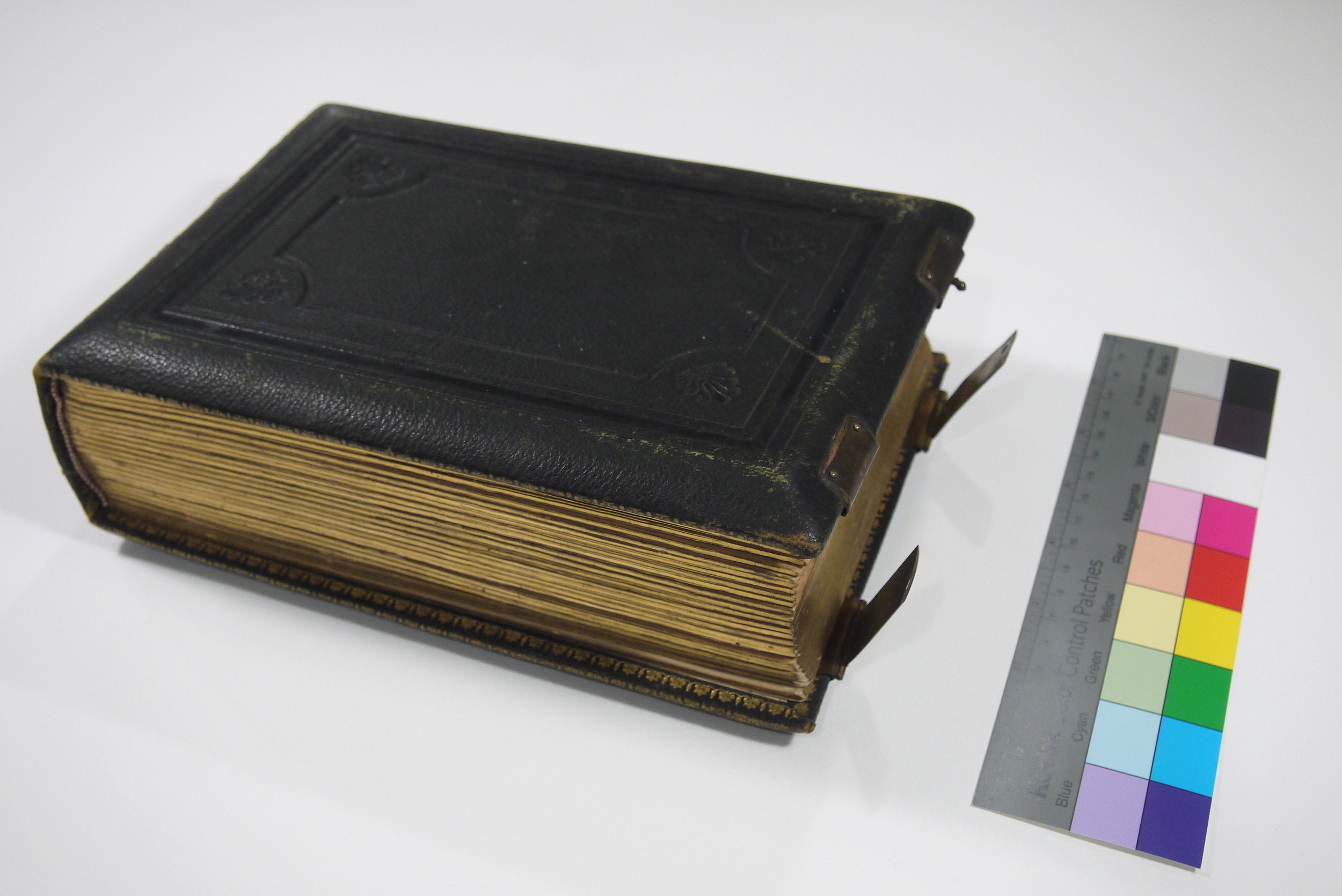 The Bishop Crinnon carte de visite album before conservation treatment.