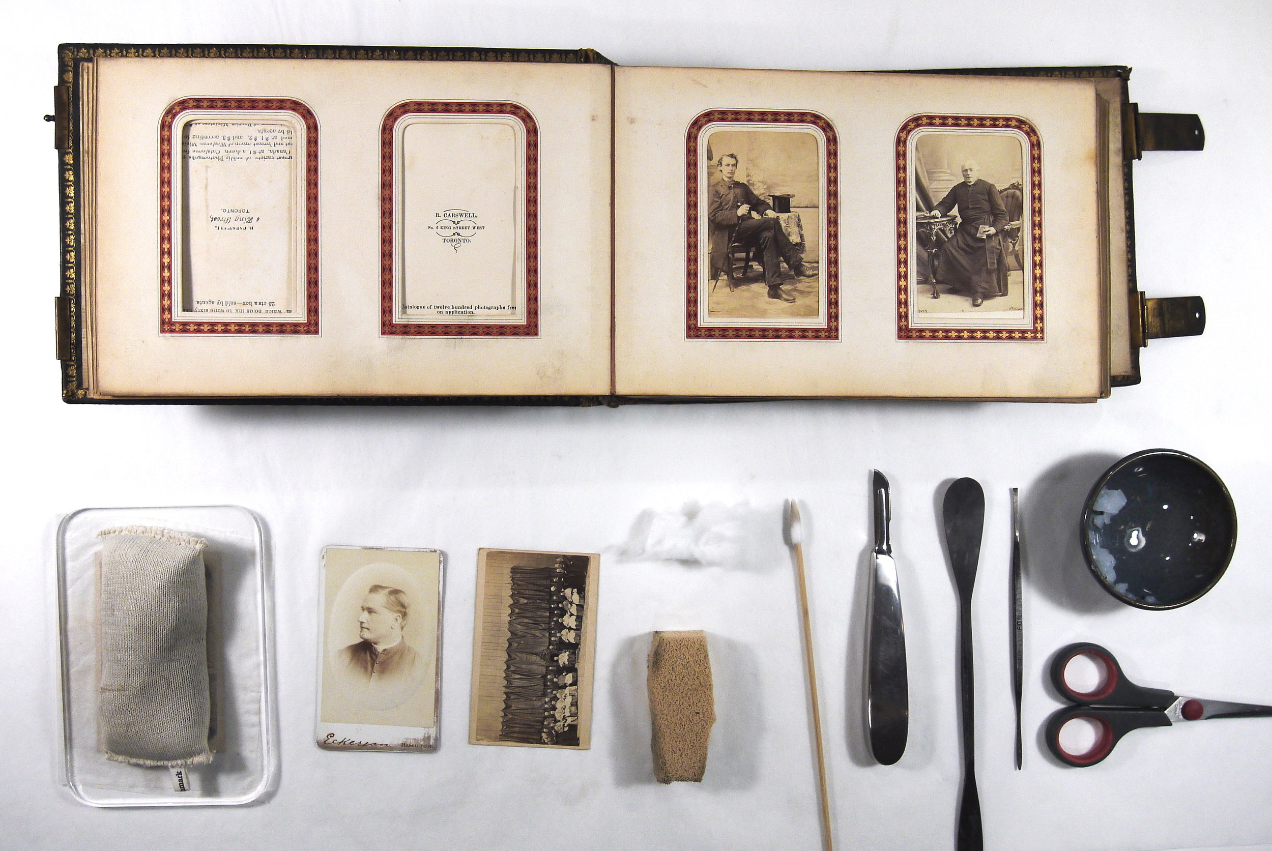 The Bishop Crinnon carte de visite photograph album, during conservation treatment.