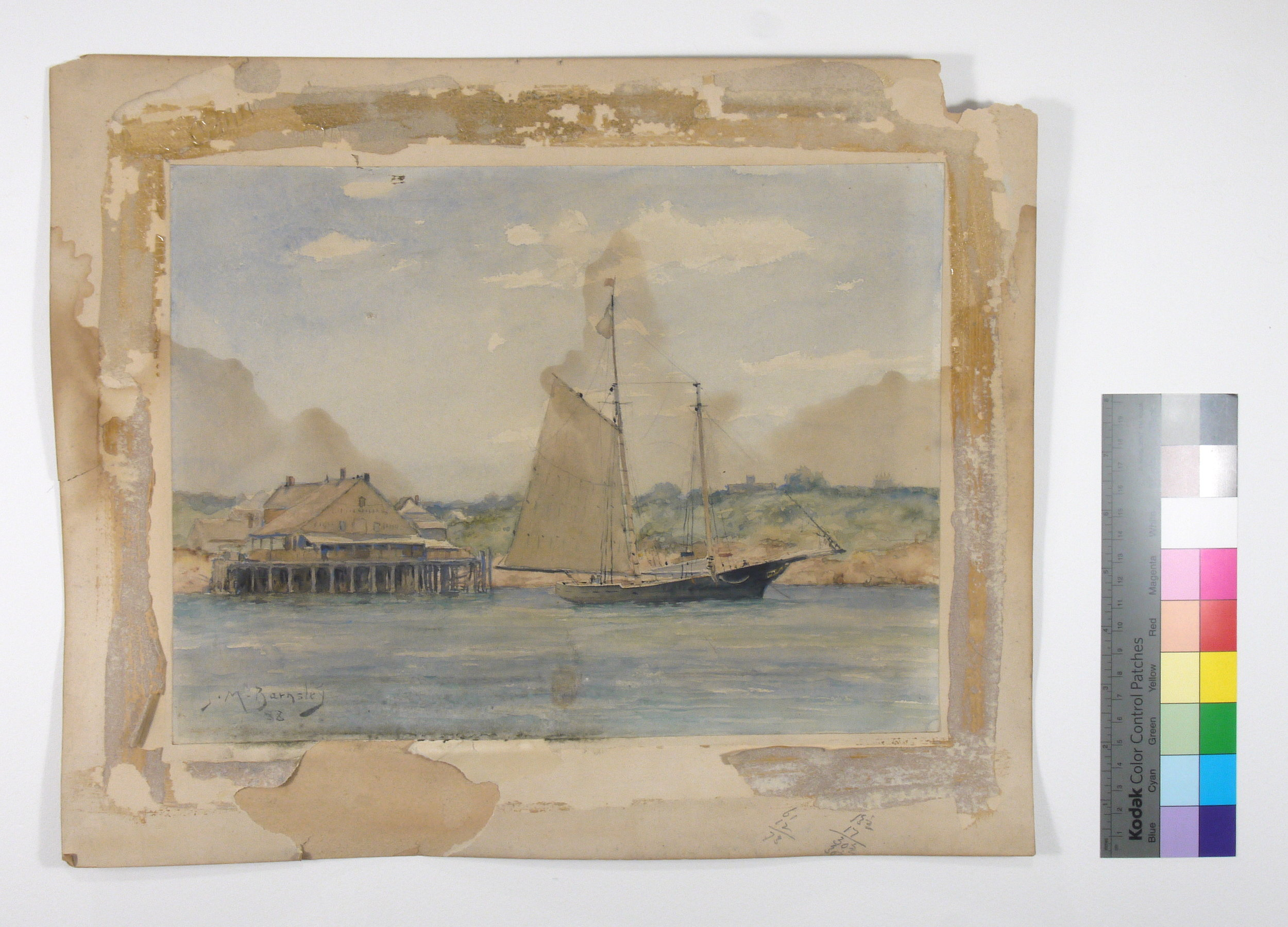 19th century watercolour painting by J. M. Barnsley, suffering water and mould stains.