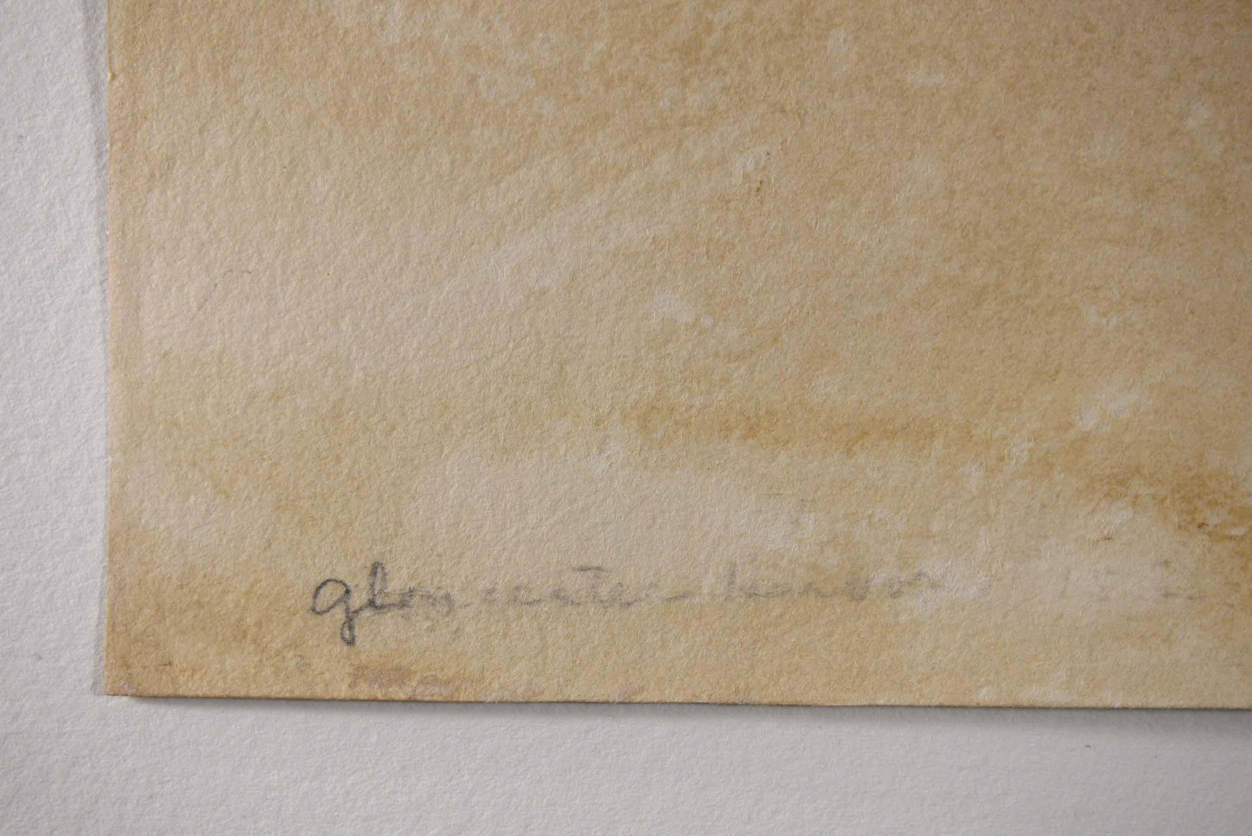 The title of the painting,  Gloucester Harbour , revealed on the verso.