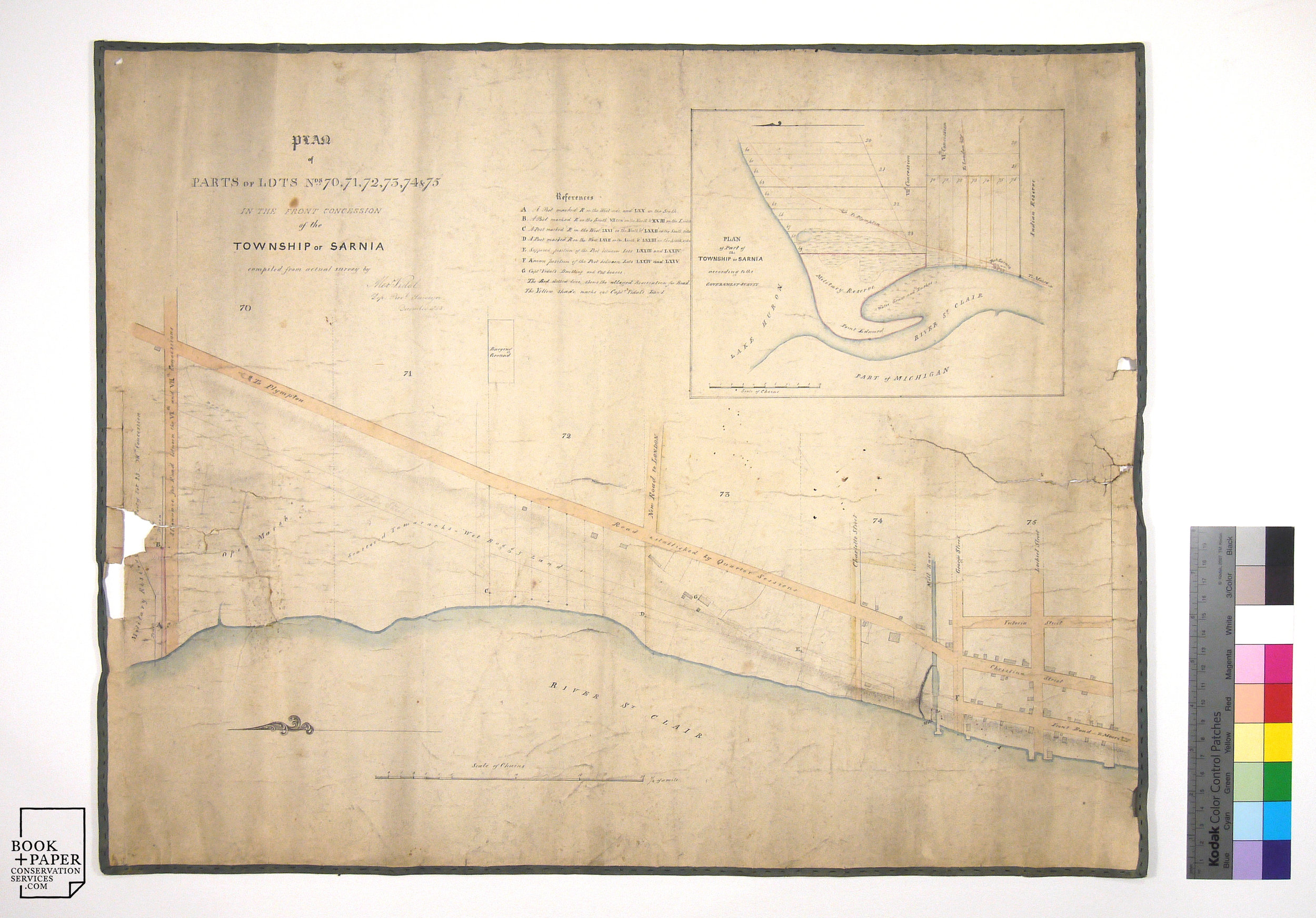 1848 Map of Sarnia, Ontario, Canada. Before conservation treatment, the map suffers surface dirt, tears and losses, as well as previous repairs with damaging adhesive tape on the verso.