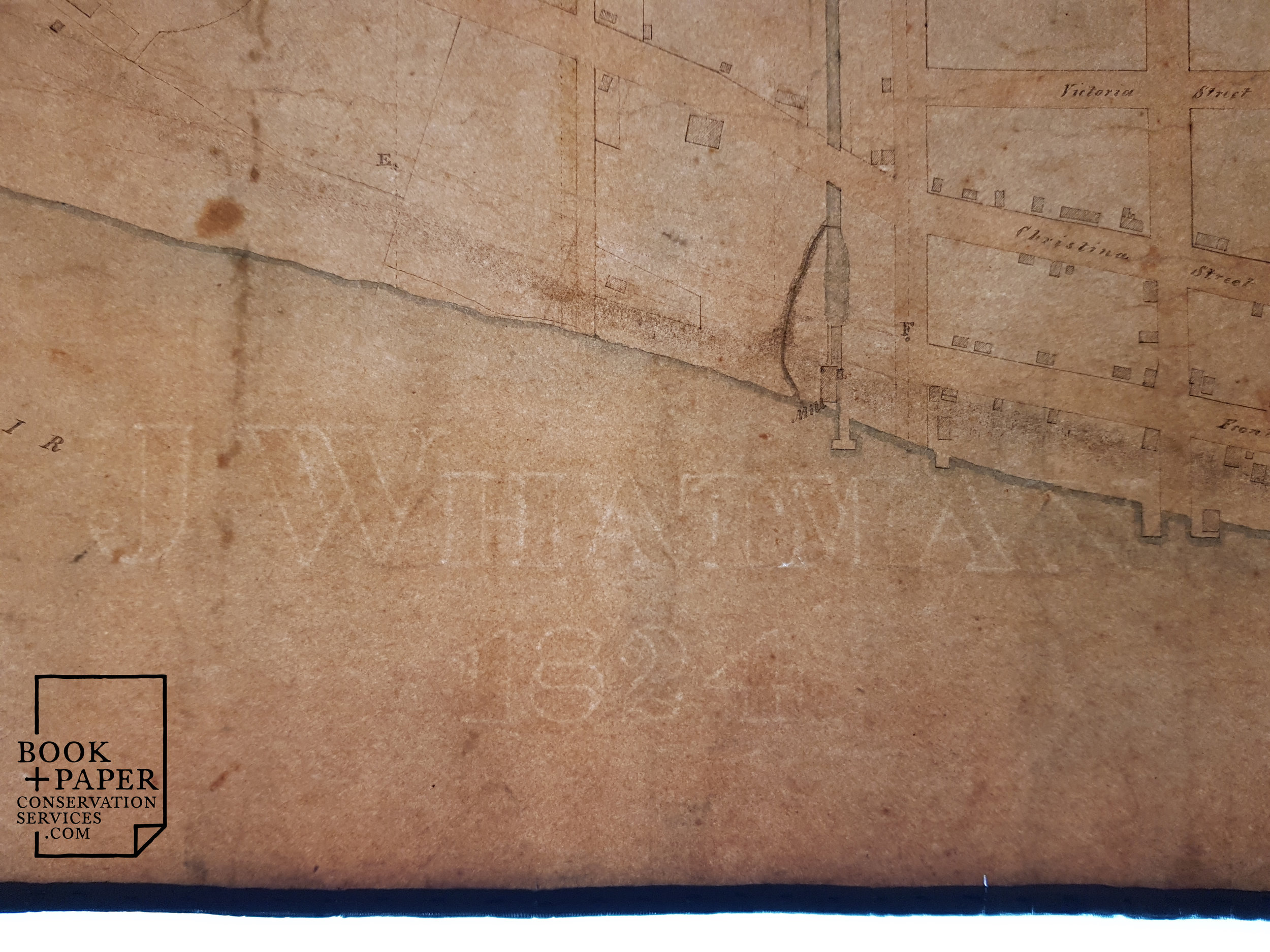 A watermark from the notable papermaker J Whatman is visible in transmitted light. The map is drawn on hand-made laid rag paper.