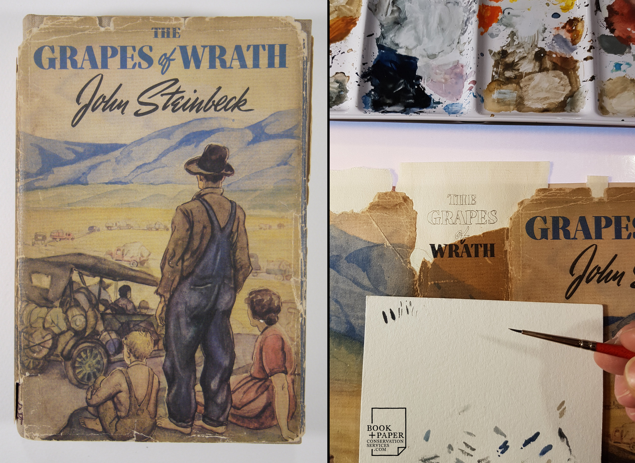 Restoration of the dust jacket of a 1st edition Grapes of Wrath by John Steinbeck.