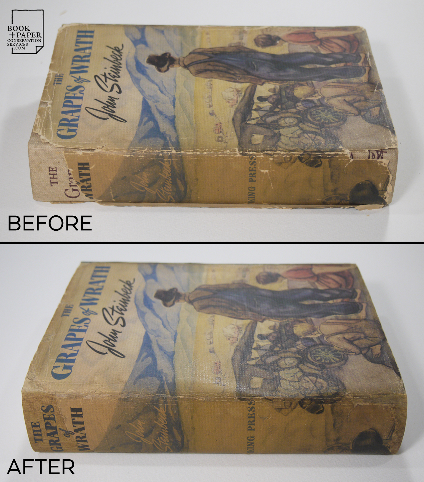 Before and after restoration, showing the spine and front cover of 1st edition of The Grapes of Wrath by John Steinbeck.