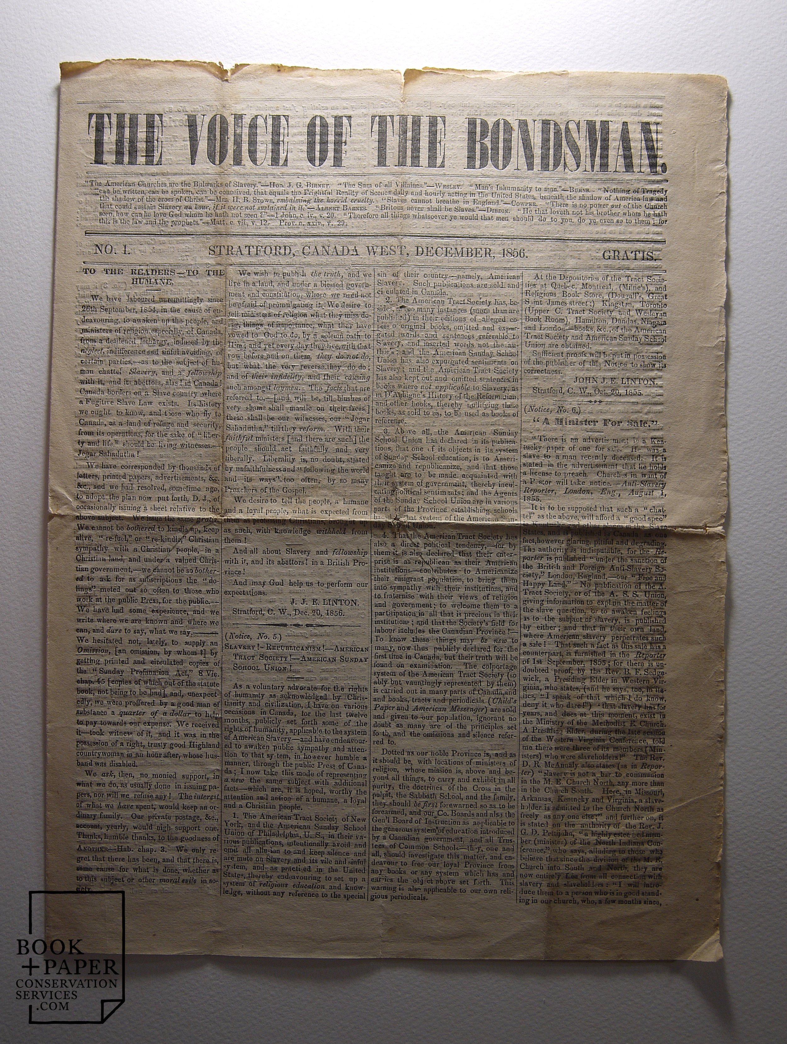 The Voice of the Bondsman , Issue 1, an early Canadian Abolitionist newspaper, before conservation treatment. Shown in raking light.