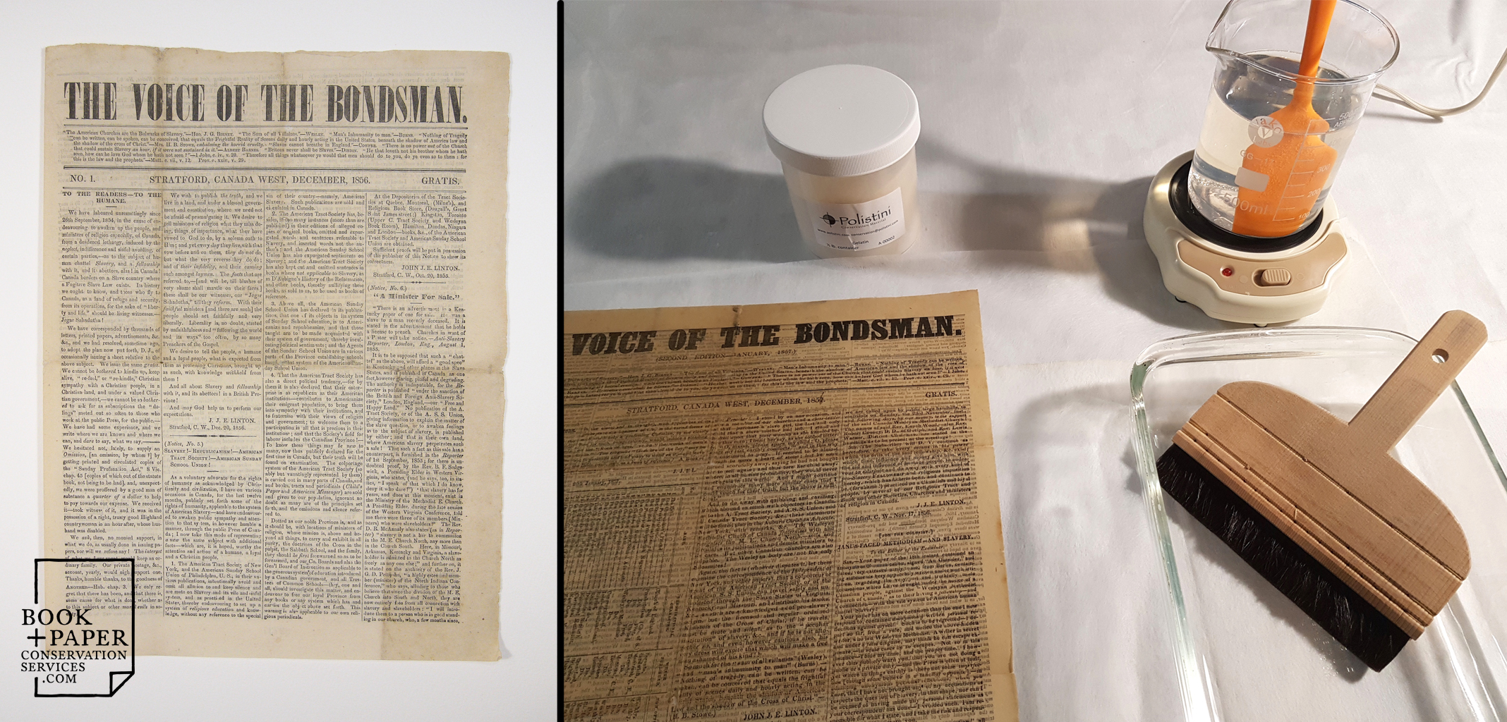 Two issues of a rare early Canadian Abolitionist newspaper,  The Voice of the Bondsman,  published in 1856, recently received conservation treatment at our studio.