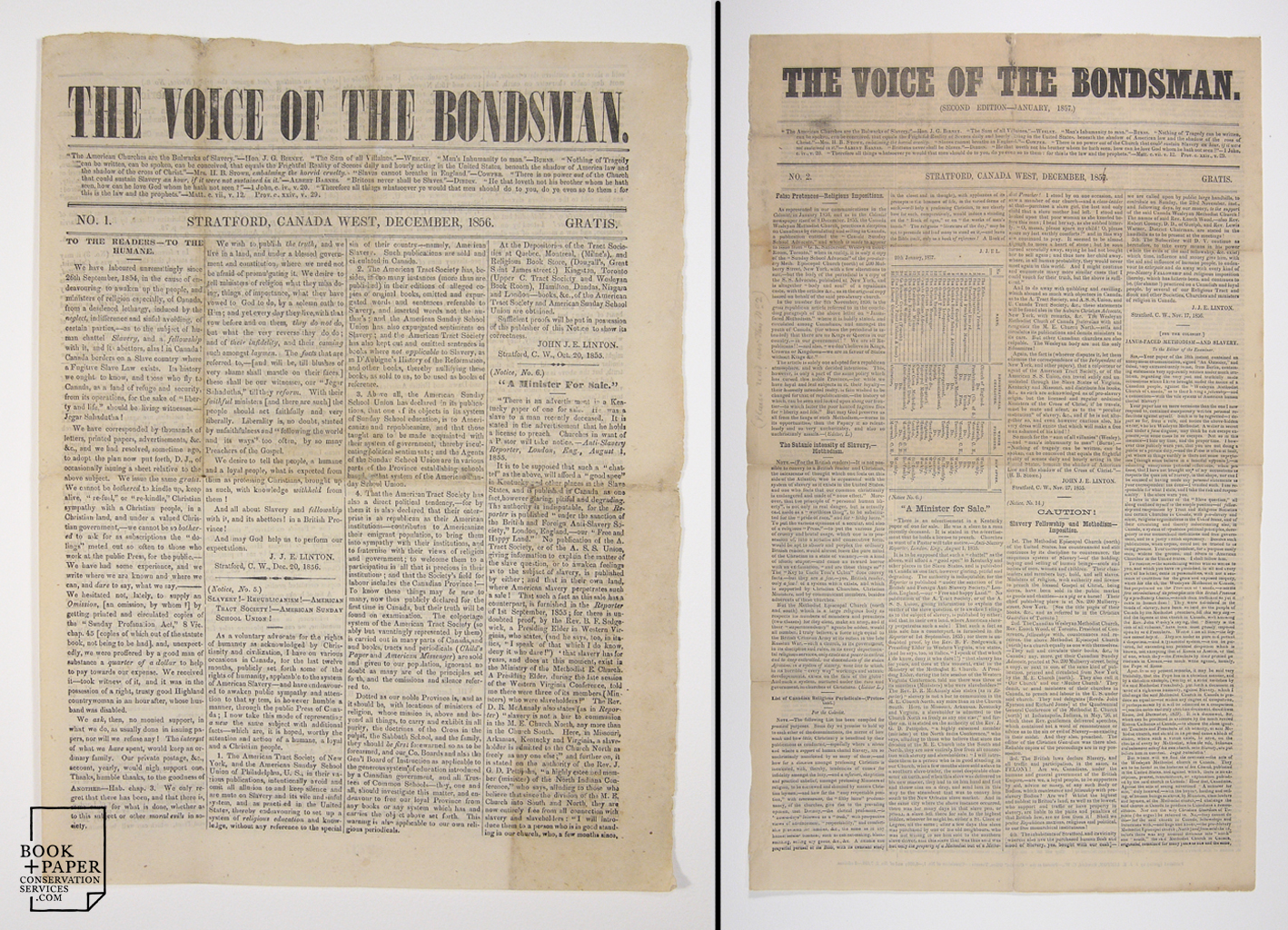 The Voice of the Bondsman , Issues 1 & 2, after conservation treatment.