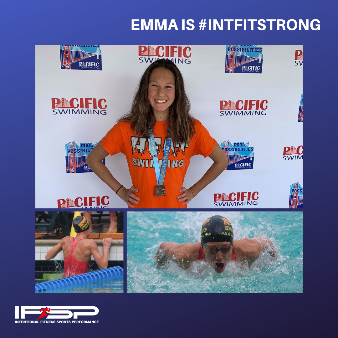 "Emma Amon   ""Emma has swam competitively for 5 years. Her performance graded well locally, but she had trouble competing at the state level. We started working out with Coach Ruben 2 years ago, and although he had not worked with swimmers before, he took the time to analyze and research which muscle groups would be key for success. Emma and a couple of her teammates started the 5:15am workouts, 3 days a week. After 6 months, Emma found her way onto the podium at the AZ State Championships. 18th months later she medaled at the Far Western Championships; a meet that pits the best swimmers in the Western US, Canada, and Mexico. She has now qualified for the future championship in Des Moines, IA, in August 2019. Emma is looking forward to her high school swimming season with Cibola High School and hopes to reset the record book. Thanks Coach Ruben for your help in this journey."" - Jean Amon (Emma's Mom)"