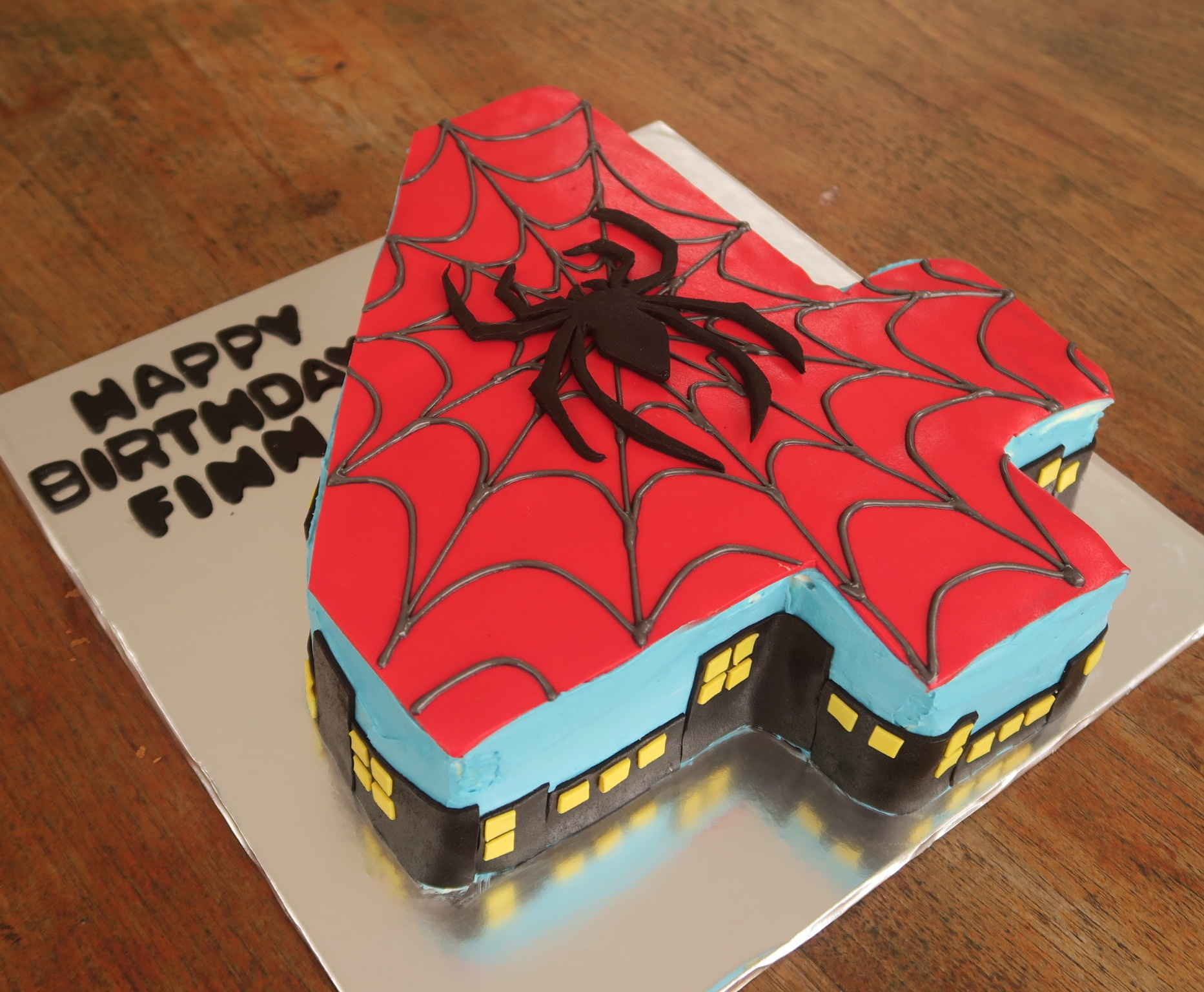 Spiderman number 4 cake.jpg