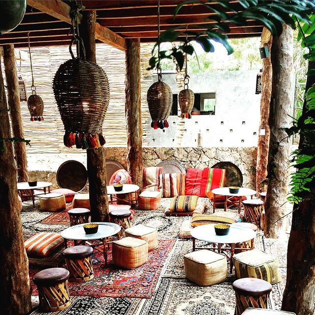 relaxing Morroccan lounge at the Nomade Tulum, Mexico