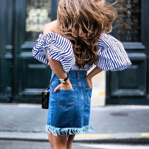 Image taken from They All Hate Us -Off the shoulder, stripes & this beautifully frayed denim skirt - pure perfection!