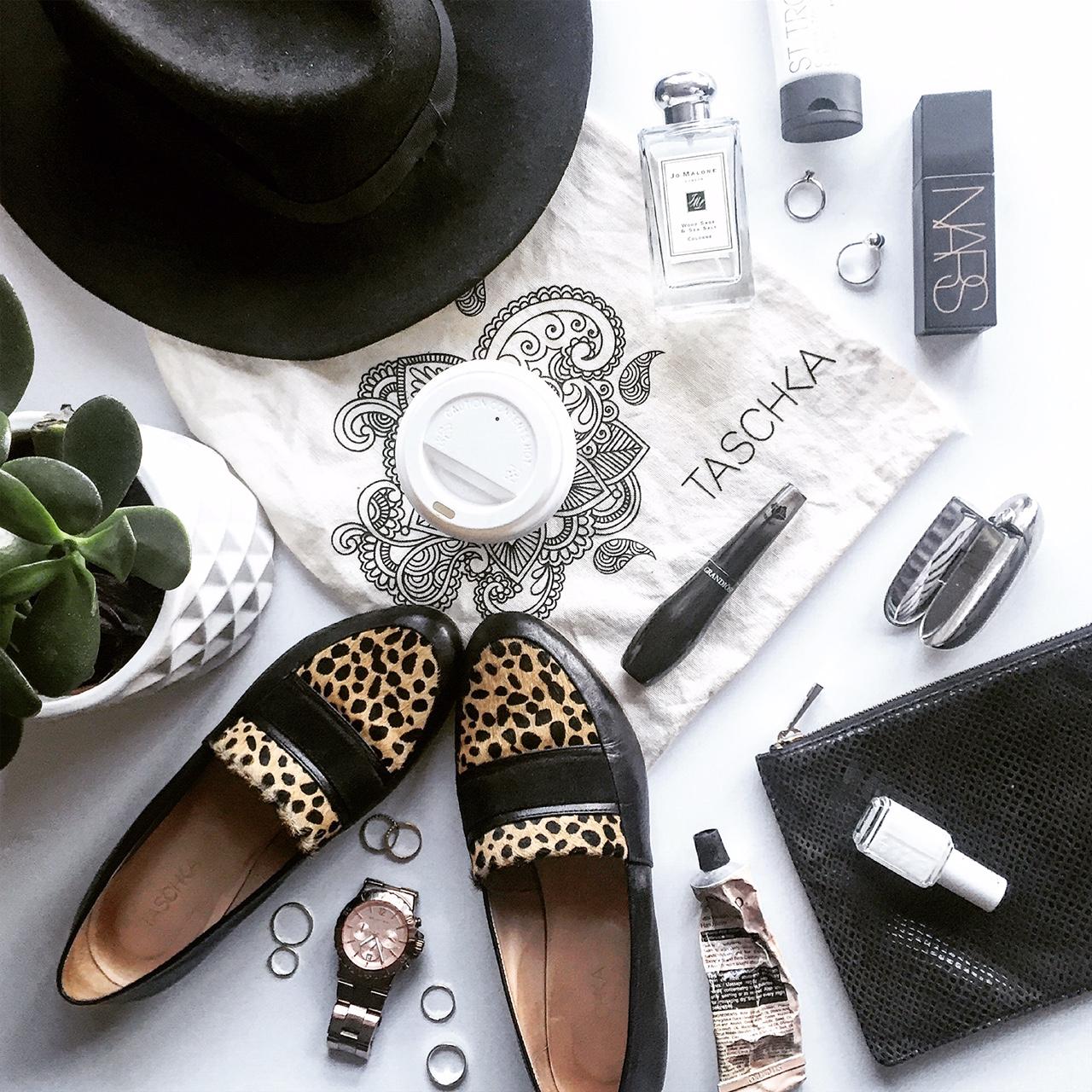 Daily Office Essentials Flat Lay - featuring Tashka FLO Onyx - Cheetah