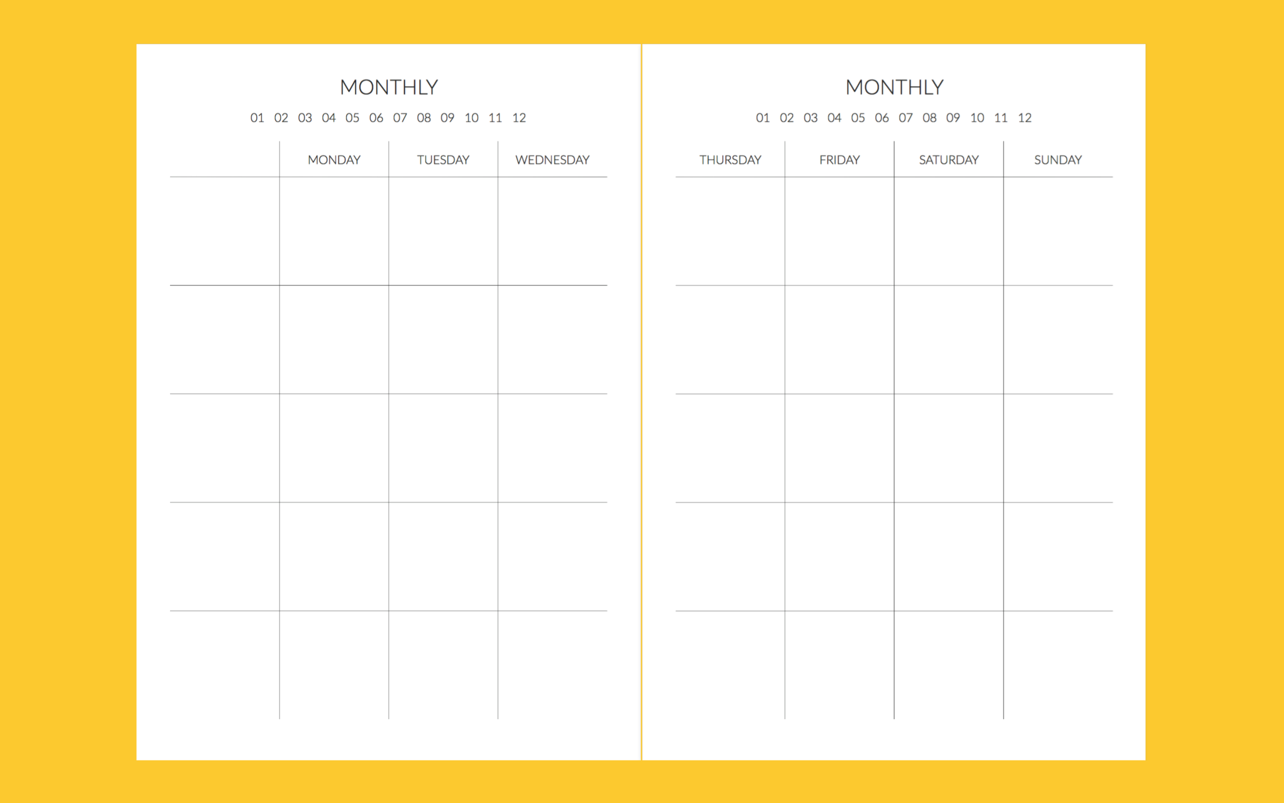 These are undated so you can start at any month, and you can choose where you prefer having your dates, and how decorated you want them to be. I found the additional column on the left to be really helpful when planning and jotting down general notes for the week, or extra details for a specific event.