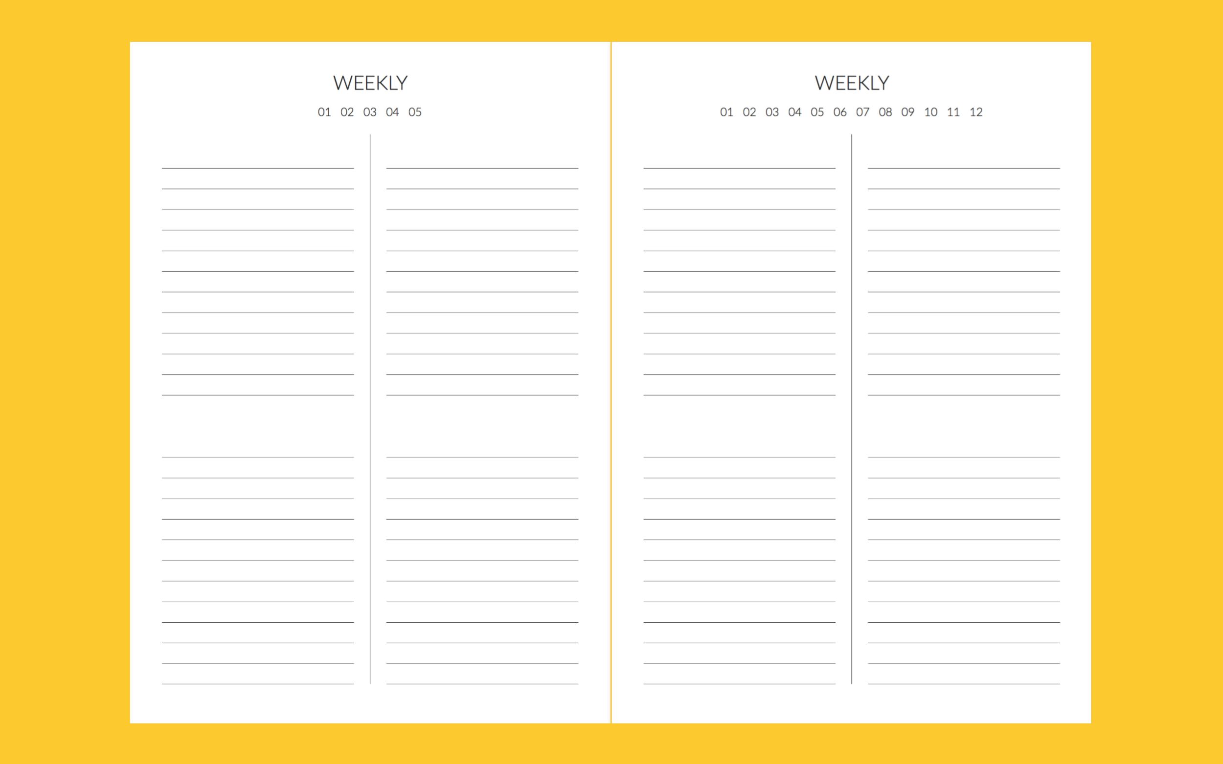 These have no days and dates on them because should you have nothing for the week, you don't waste a spread. And if you need 2 spreads for the week, you can do that too. Mark out the week of the month on the top left page, and the month on the top right page so you know when you're using it.  If you prefer having dates and days, there is space for you to do that too! 8 evenly marked out sections allows for each day of the week, and a general weekly overview.  I personally use it to creates lists of everything. Things to do for school, TW stuff, materials to buy, groceries to get at the market, meal plans (if I ever feel ambitious enough to do it), and other stuff.