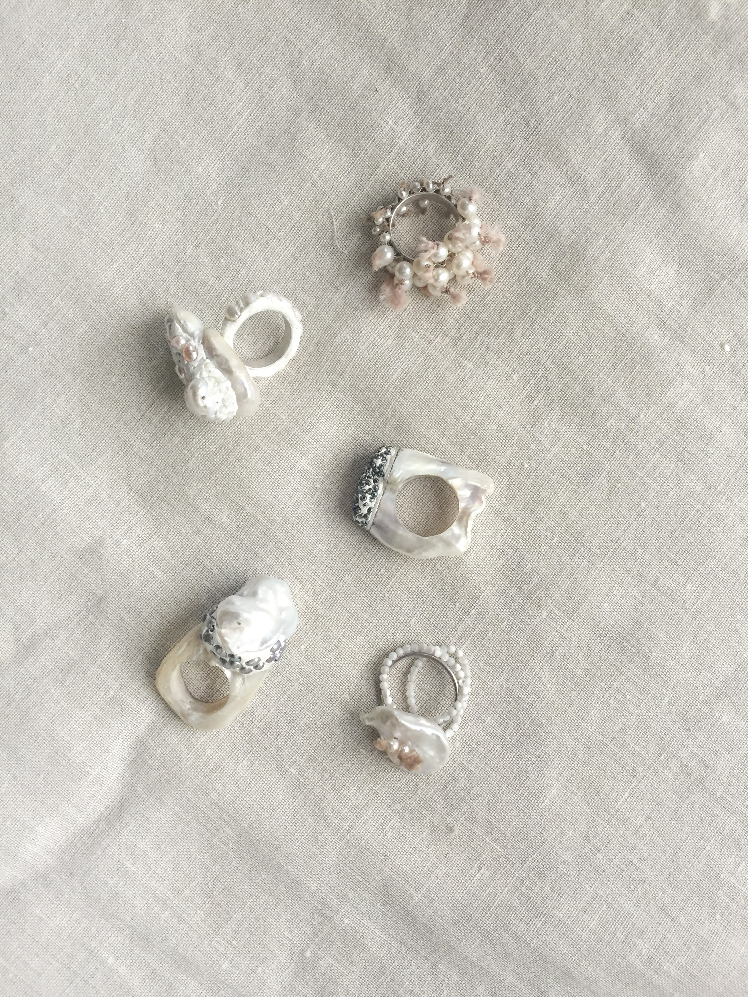 Pearl rings - Pearls for your fingers, for your eyes and for your hearts.Remember, remember, of love and romance and protection.[read more: why pearls feature so much in my work]