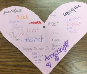 A quick activity to promote kindness. 1. Instruct children to make a heart and put their name in middle. 2 Teach effective compliment lesson. 3. Give each child about 30 seconds to write a positive comment and then pass to a classmate.
