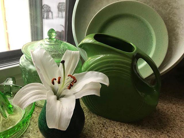 #Spring #spring green #fiesta ware #Vaseline glass #pottery #depression glass #glimmerglassantiques.com