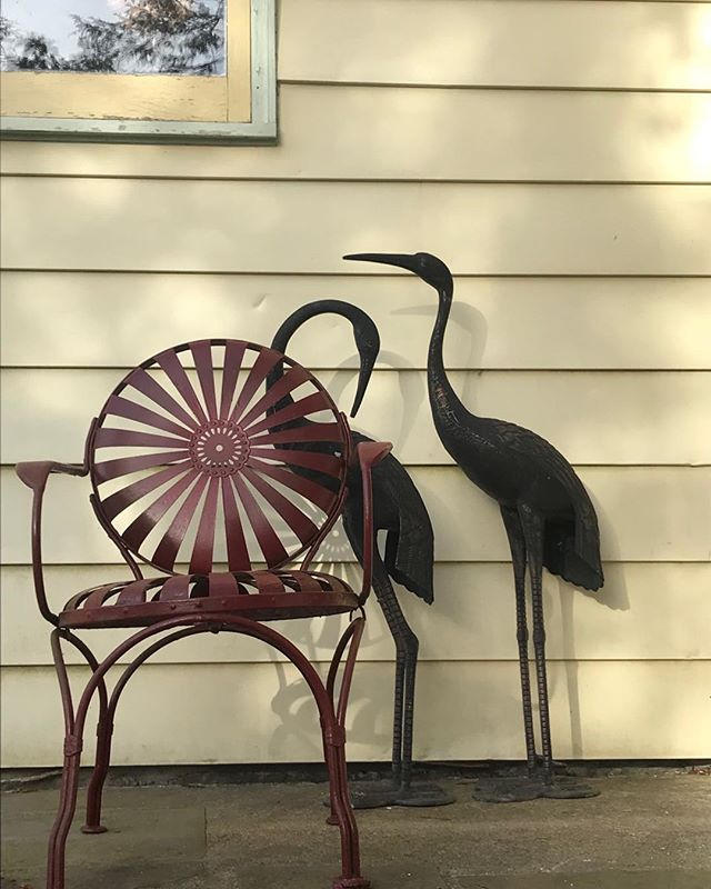 #springtime #herons #patiodecor #vintage metal chairs #hear the peepers #Glimmerglassantiques.com