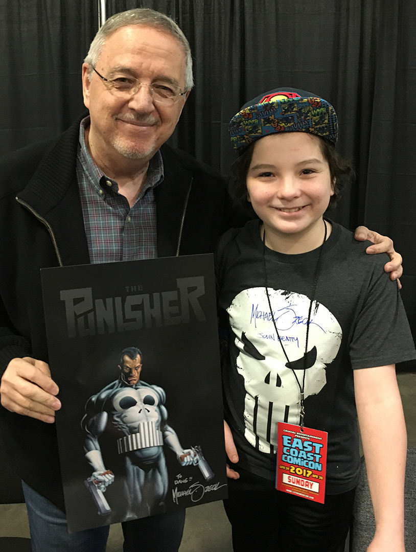 East Coast Comic Con -- Punisher fans come in all ages. Super Punisher fan, Dane, had a shirt (which his mom can no longer wash!) signed by me and John Beatty. And Dane earned a complimentary signed Punisher print for being an awesome kid as well.