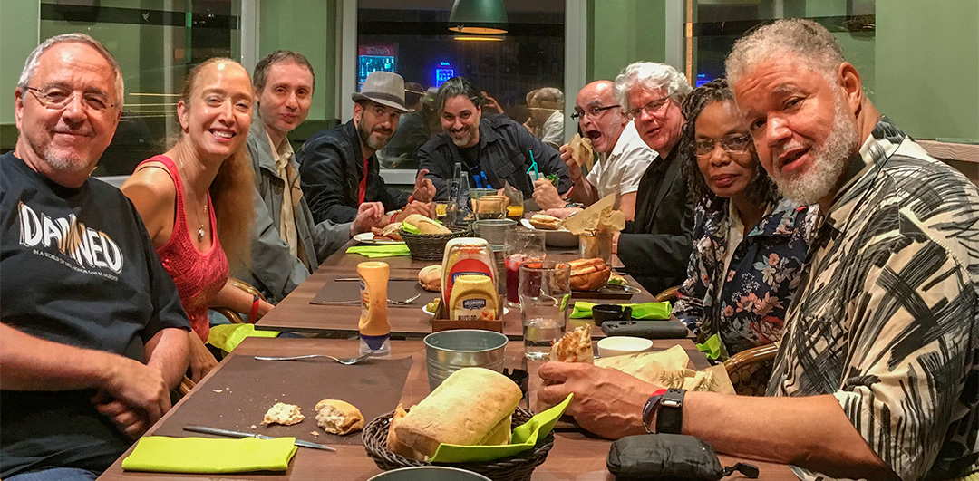 """The Last Supper,.. in Gijón that is. Thanks to Pepe Caldelas (under the hat) for hosting us. And to Miguel Saavedra (this side of Pepe) for still being willing to put up with us after so many interviews over the weekend. And thanks to the rest of the """"guest posse"""" (including Rodney Ramos behind the camera) for helping create such an awesome weekend!"""