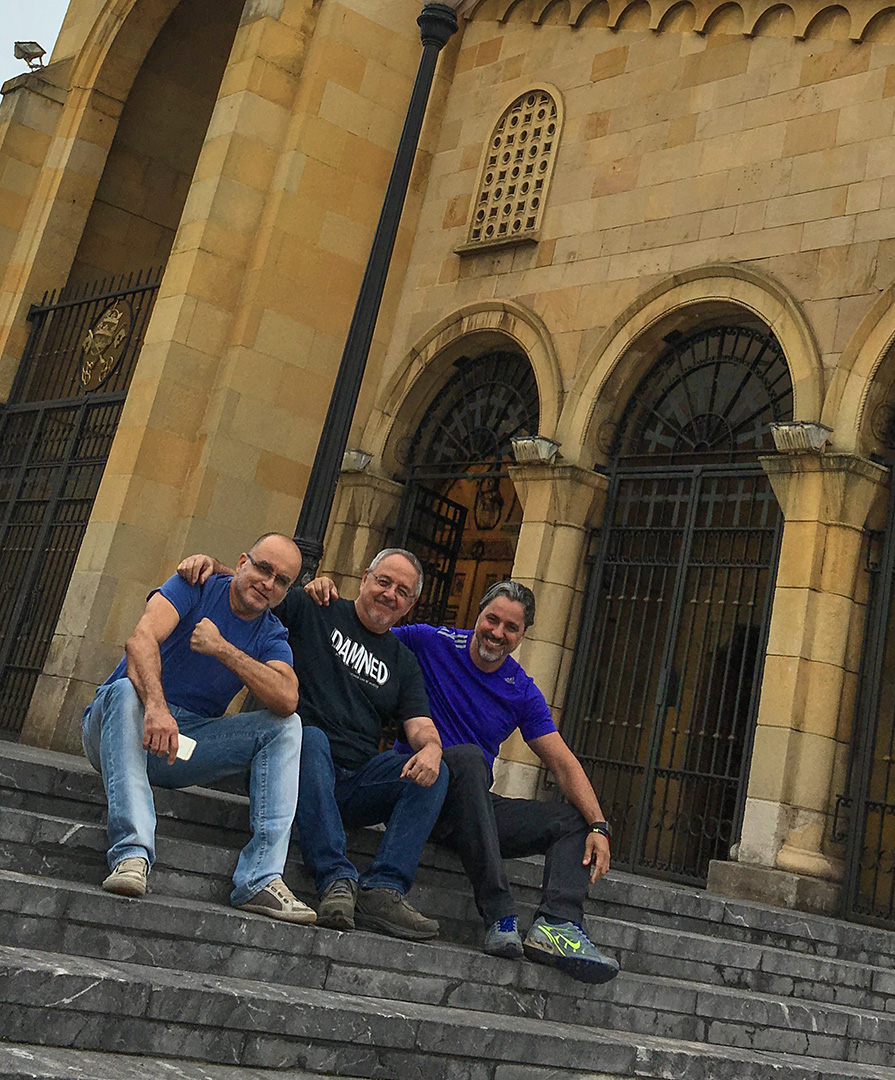 Mike Deodato, Will Conrad, and I on the church steps.