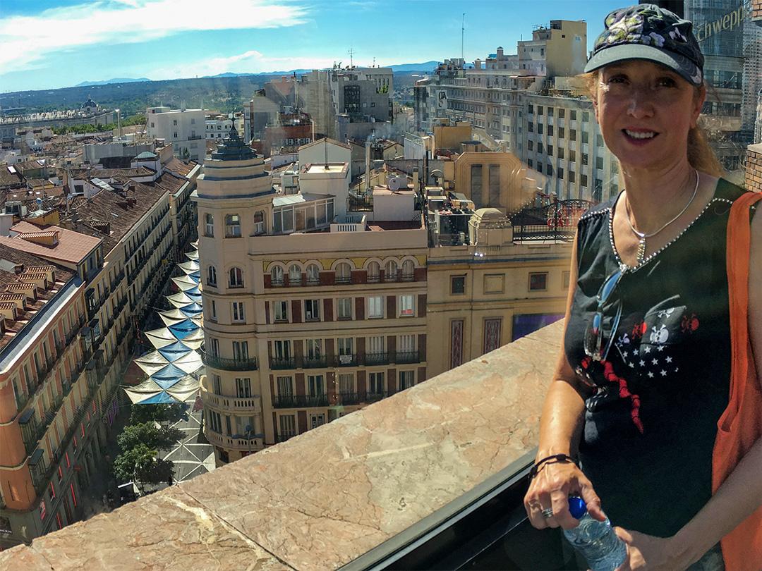 Renee looking down at Madrid.