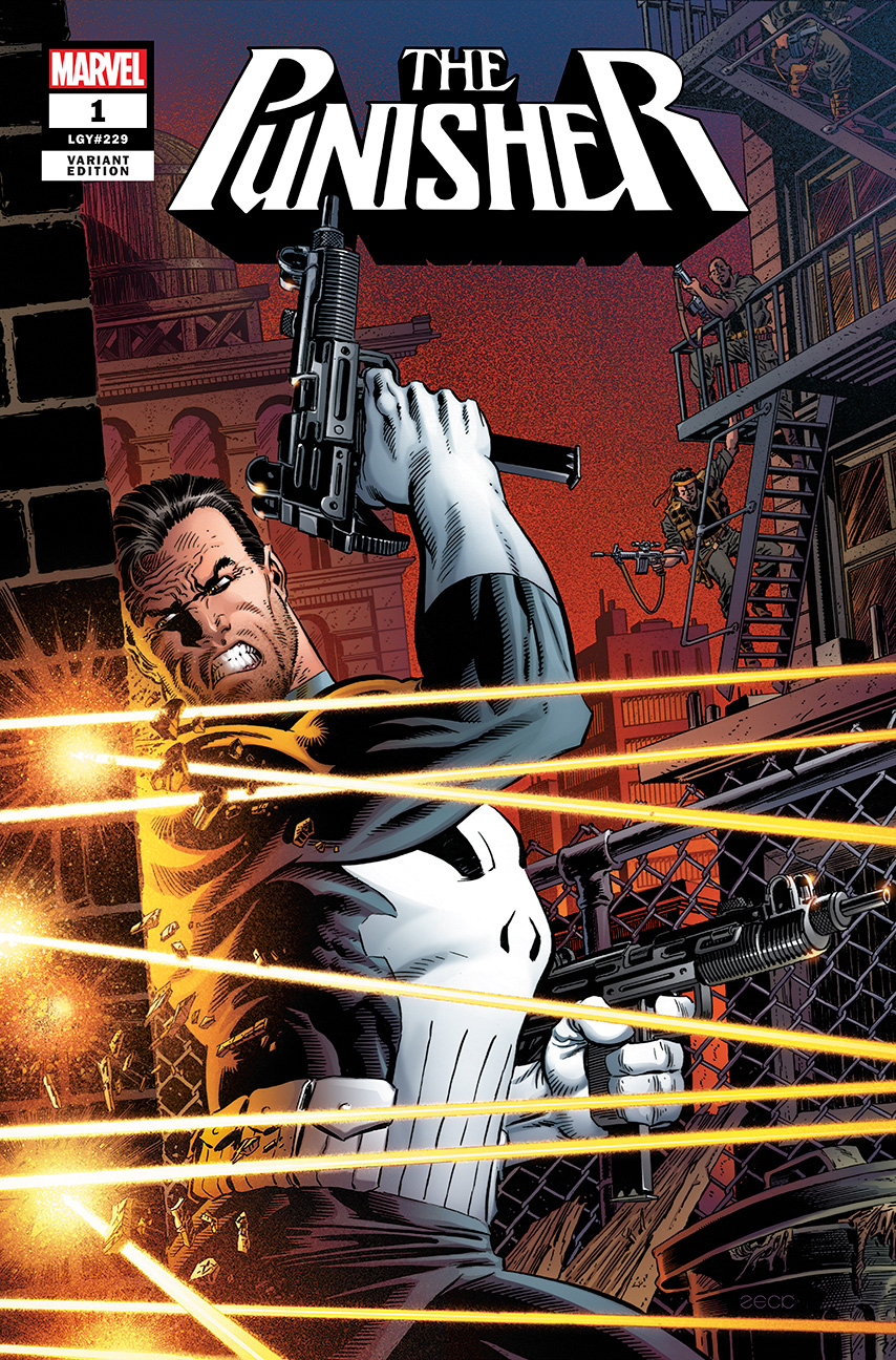 Cover art for Mike Zeck Punisher #1 Exclusive Variant. Approximate trade dress and element placement.