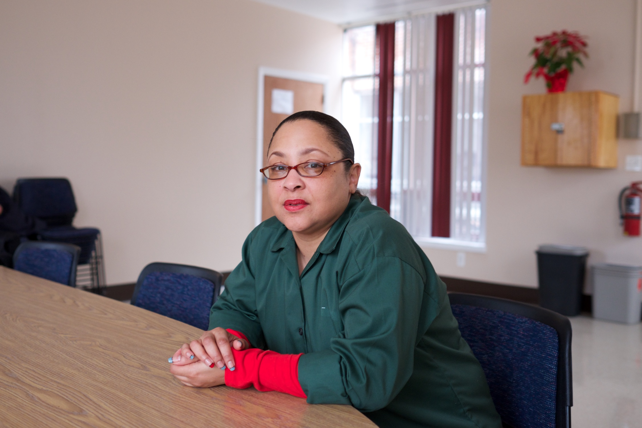 Claude, 44, shortly before her release, after spending 25 years in prison.