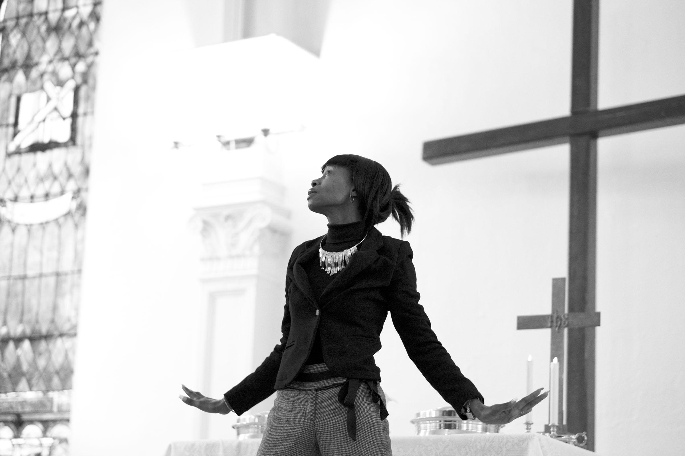 Tracy performing a prayer dance. Church of Gethsemane, Brooklyn, NY (2017)