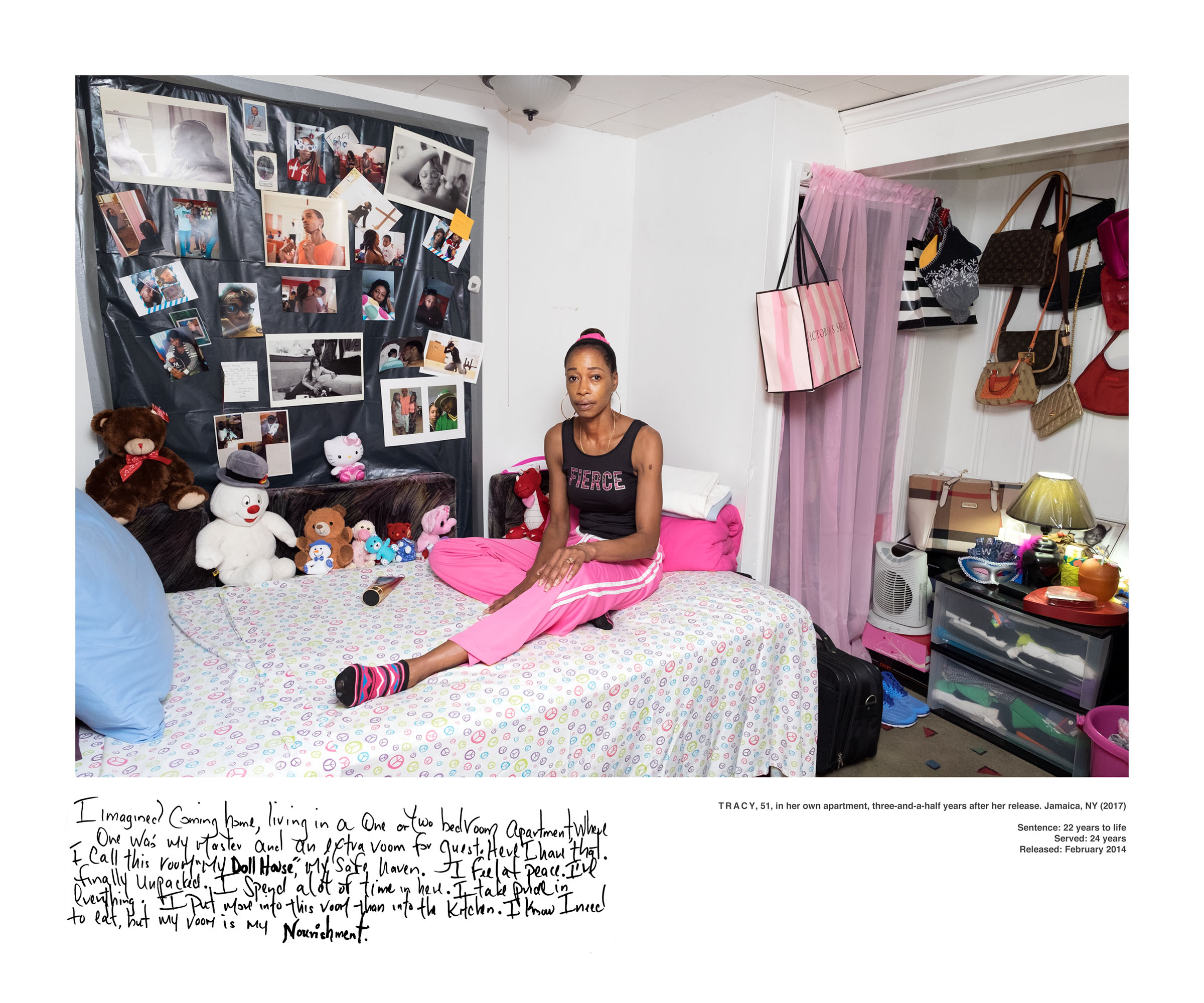 The Bedroom Project , comprises 18 portraits of formerly incarcerated women, who spent anywhere from 14 to 35 years in prison, in their bedrooms