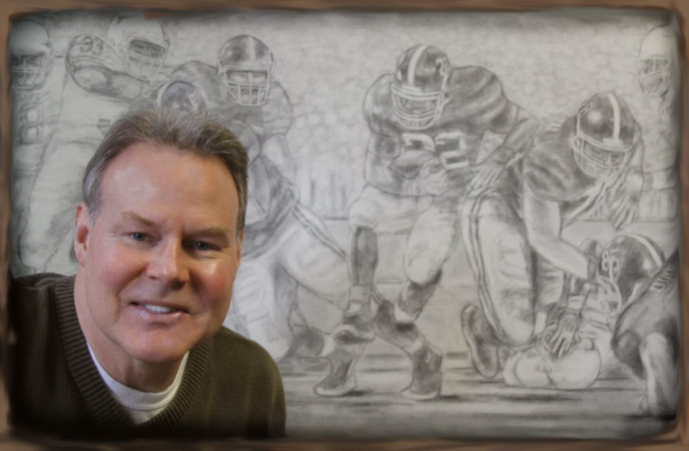 """In my studio preparing a preliminary drawing for my original oil painting """"Champions Again""""."""