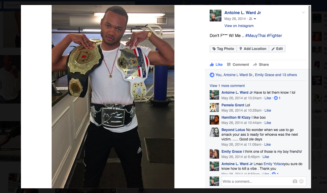 Five Points Academy; May 26th 2014. Playing around with the fighters belts.