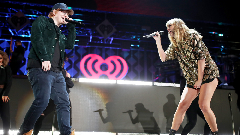"Ed Sheeran and Taylor Swift perform ""End Game."" Photo courtesy of Variety.com"