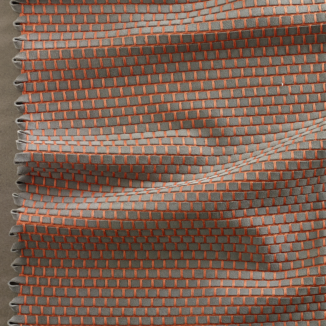 DATA  - Cotton/Leather.  The leather weft is hand cut from eco suede, a thicker quality of leather which gives a three dimensional effect to the weave.