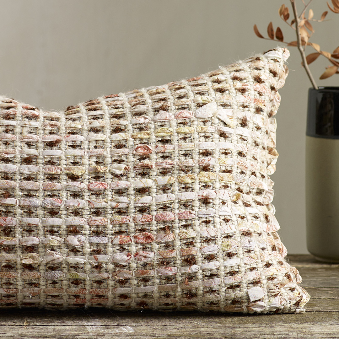 JUNE  -Hand woven cushion made with fine strips of printed silk crepe de chine. Wool/Tencel/Viscose/Lurex/Silk.