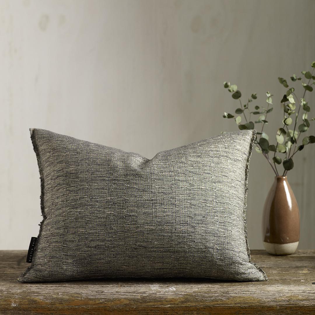 NAMI  -Hand woven cushion, elegant subtle texture and lustre. Cotton/Merino/Lurex.