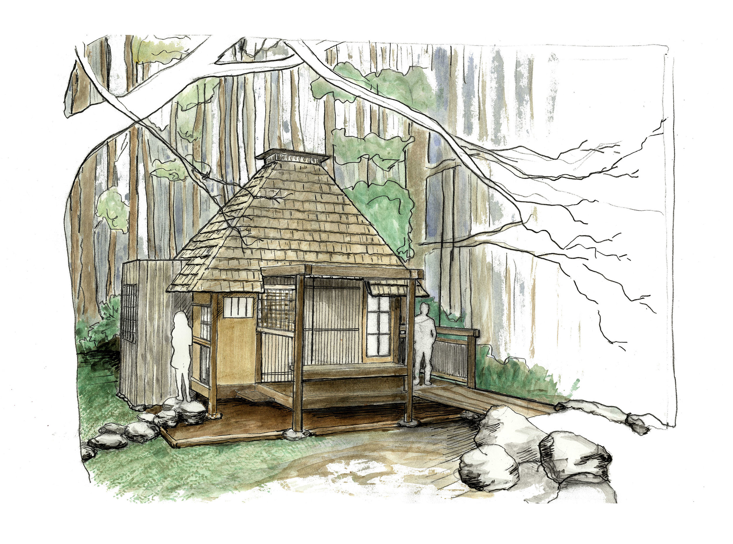 Traditional Japanese Tea-House Design. This was an immersive student project that included woodworking and studying Traditional Japanese Architecture and the Tea ceremony.