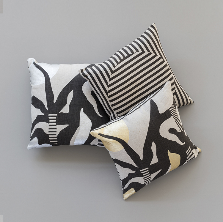A KOOK MILIEU PRINTED LINEN PILLOWS