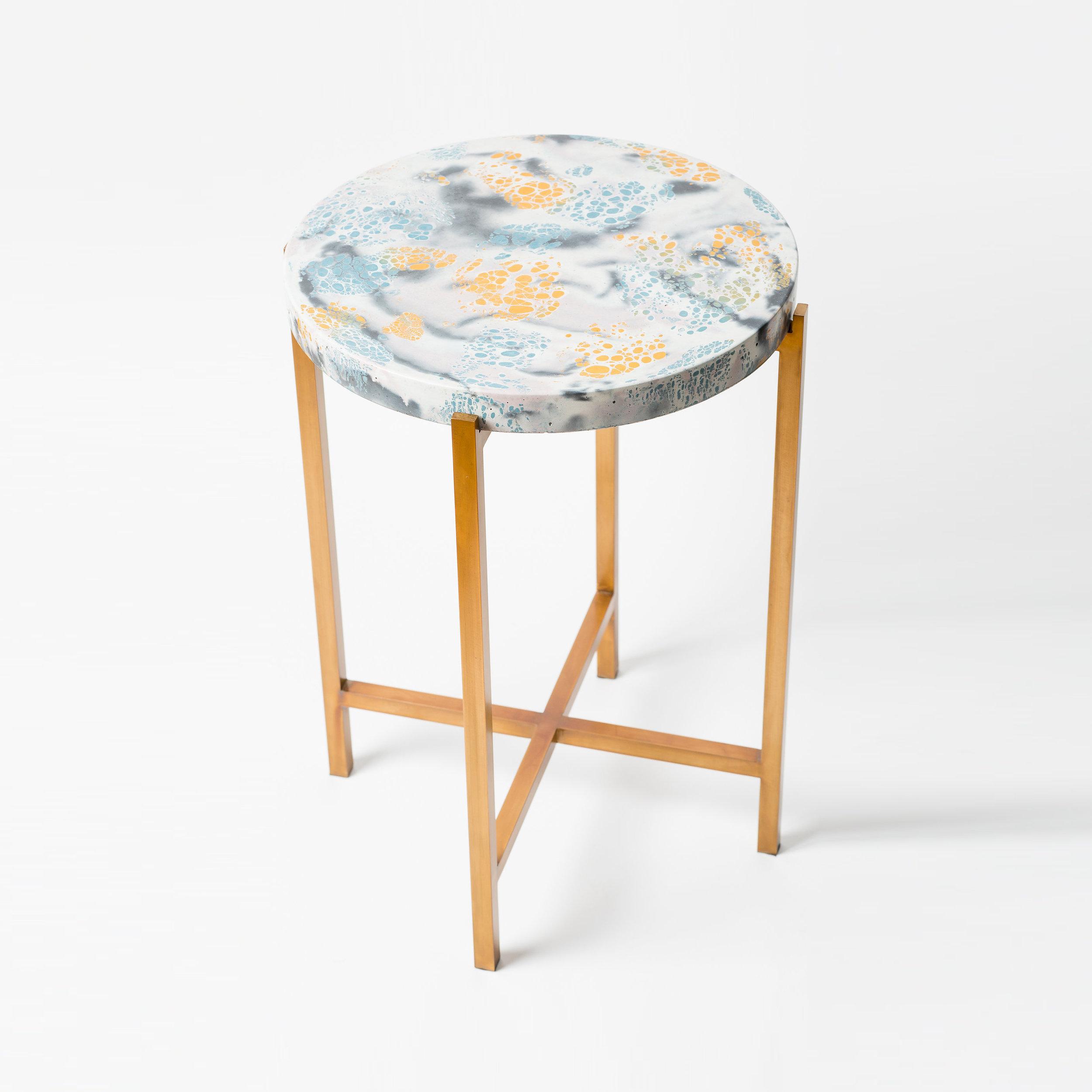 """ROUND CONCRETE SIDE TABLE  14.5"""" L x 14.5"""" W x 20"""" H  Antique brass base & blue, gold & multi concrete top"""