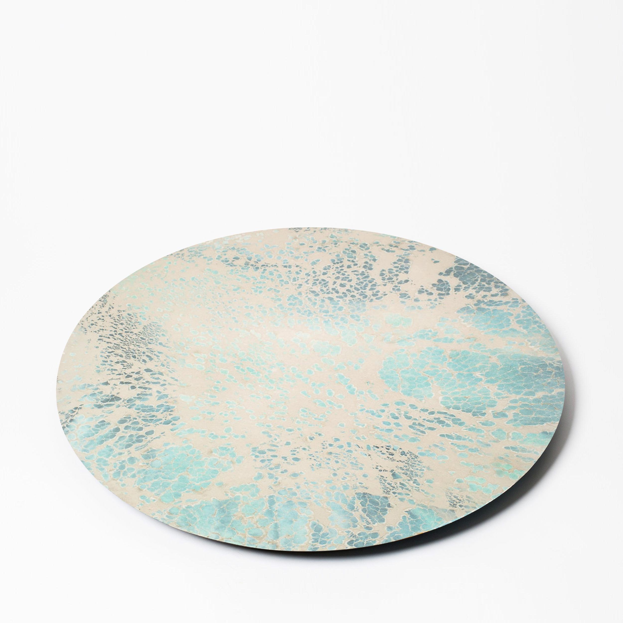 "LAMINATE LAZY SUZAN  23.5"" D  Blue & grey"