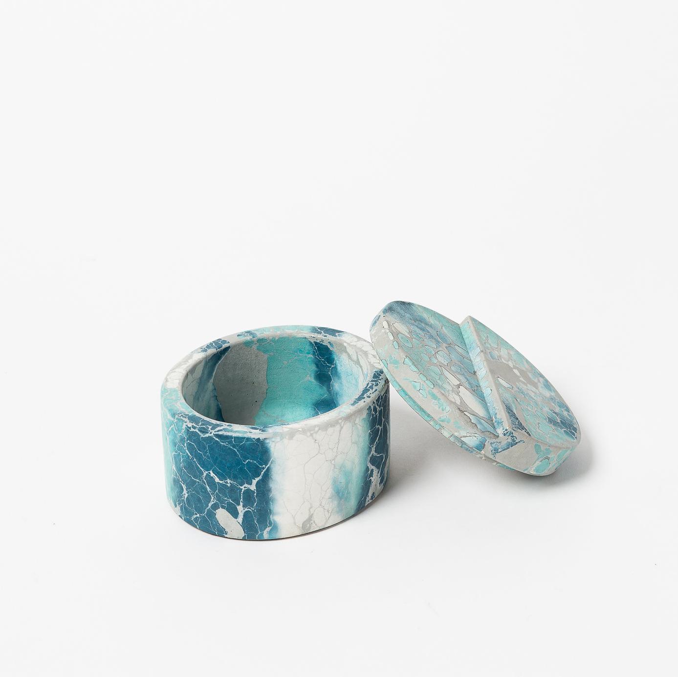 "BLUE & GRAY CONCRETE BOX  4"" D x 2.5"" H  Blue and gray concrete"