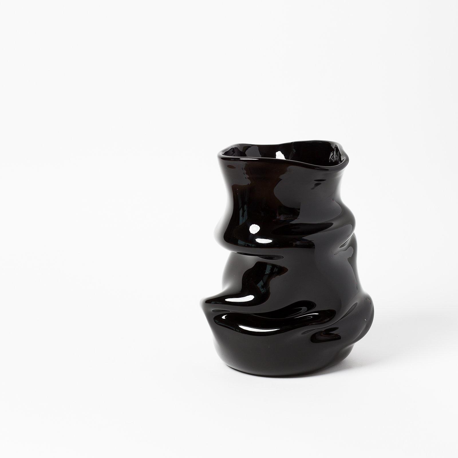 """FOLDED BLACK VESSEL  11.5"""" H x 7.5"""" W  By Eddison Osorio Zapata"""
