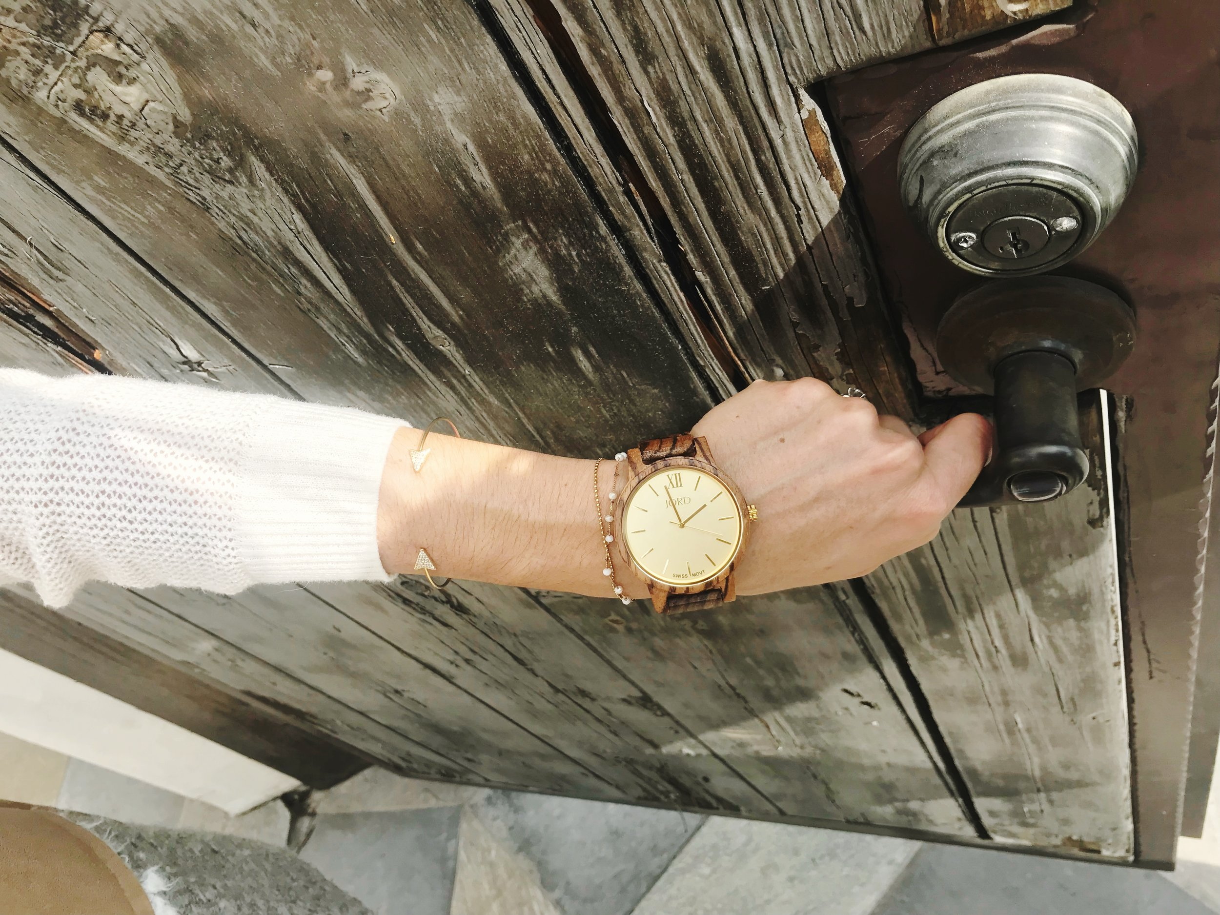 Learning to close the door on the past with JORD watches - Frankie series in Zebrawood and Champagne with a Sapphire crystal glass.
