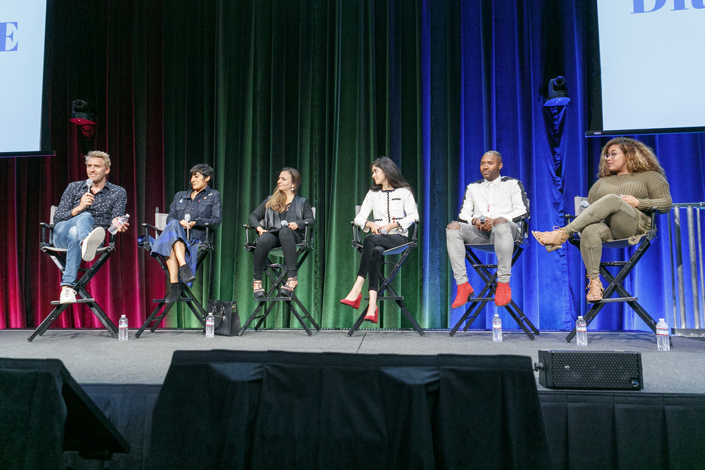 Janne Kyttanen participating in a panel for an event by  Google called Dress Code,  inspiring the future generation of STEAM.  Photo courtesy of  Getty Images .
