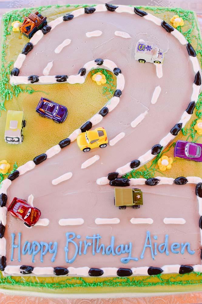 He's 2: Car birthday cake