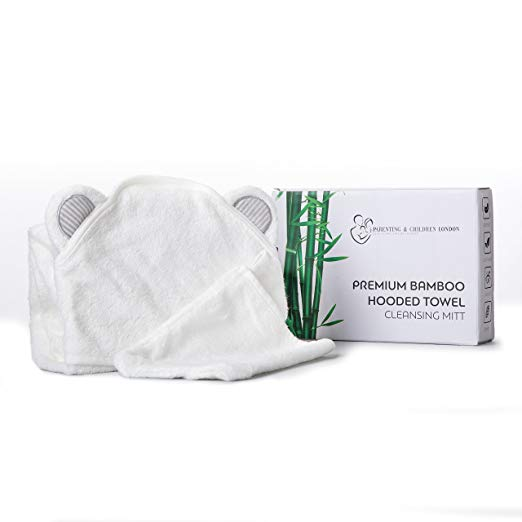 Premium Bamboo Hooded Towel and Mitt set