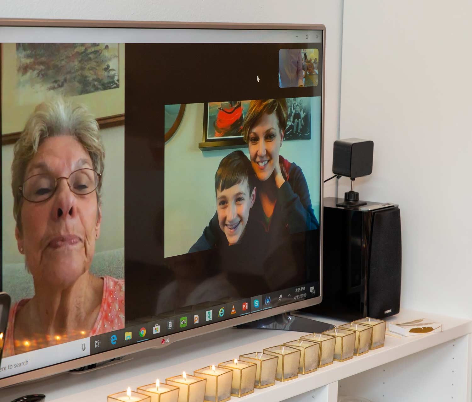 My mom (left) and good friend Jennifer (right) with her son, Henri, joining the ceremony virtually via Skype.