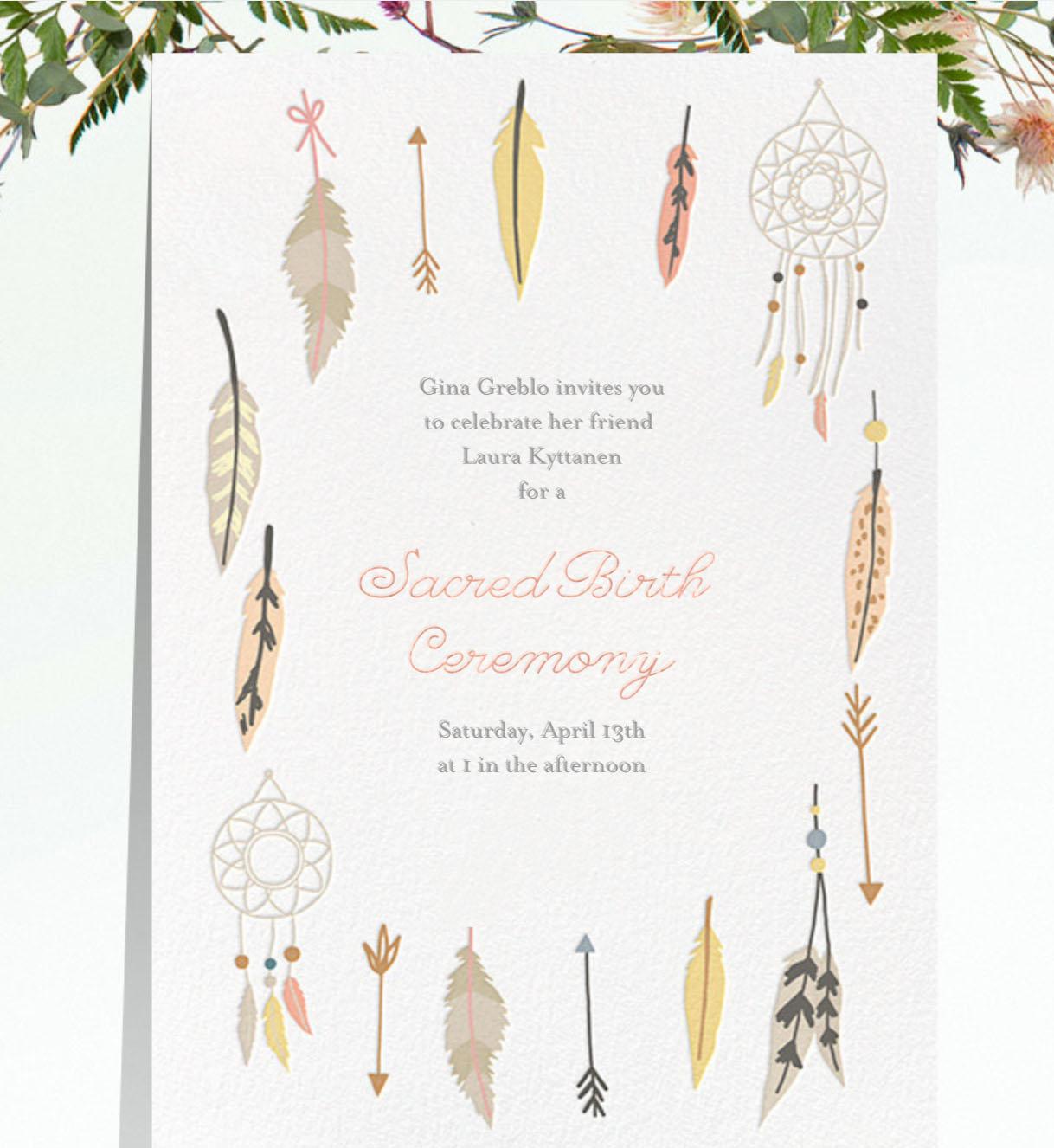 Invitation created using    Paperless post