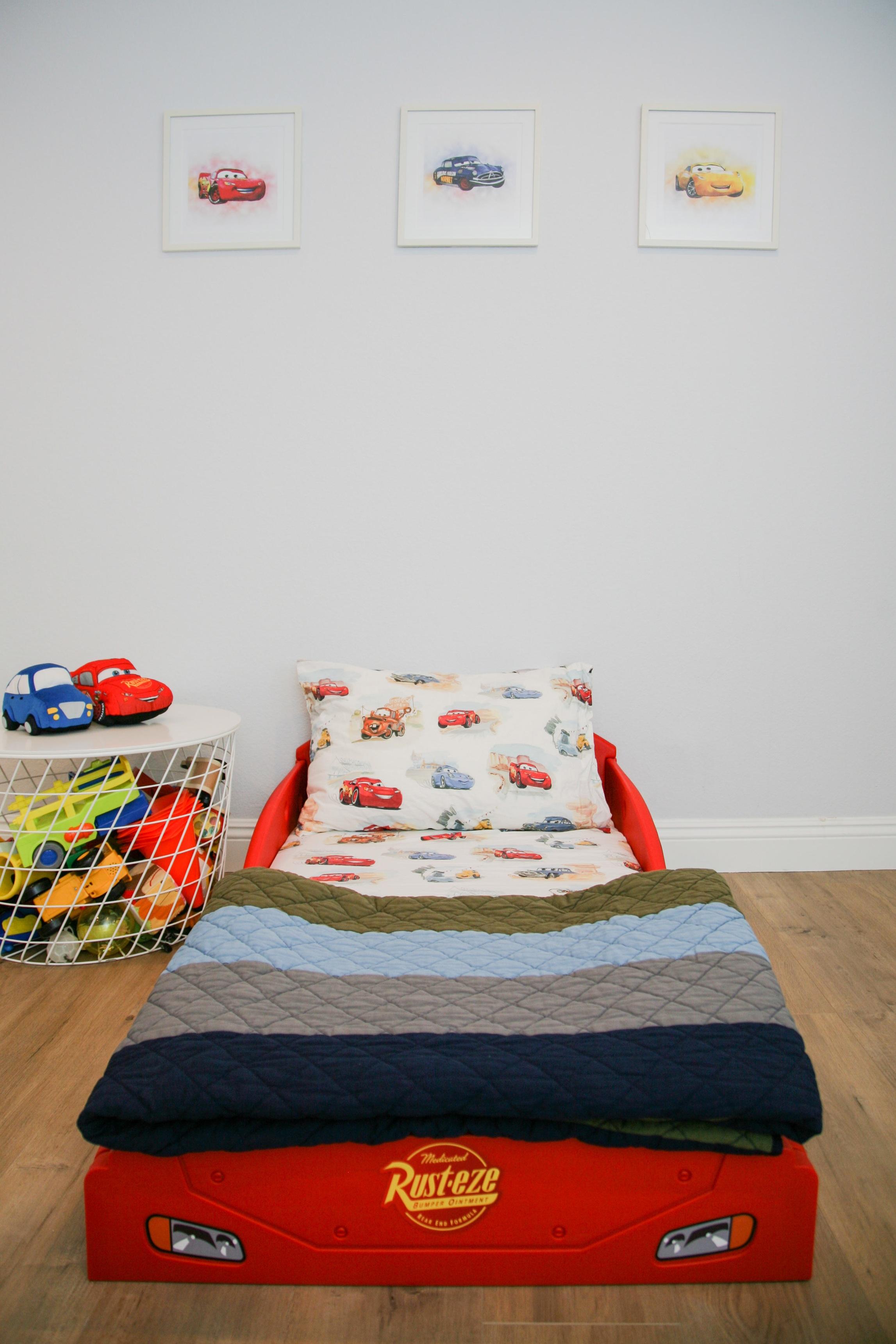 Lightning McQueen Car bed sponsored by    Delta Children