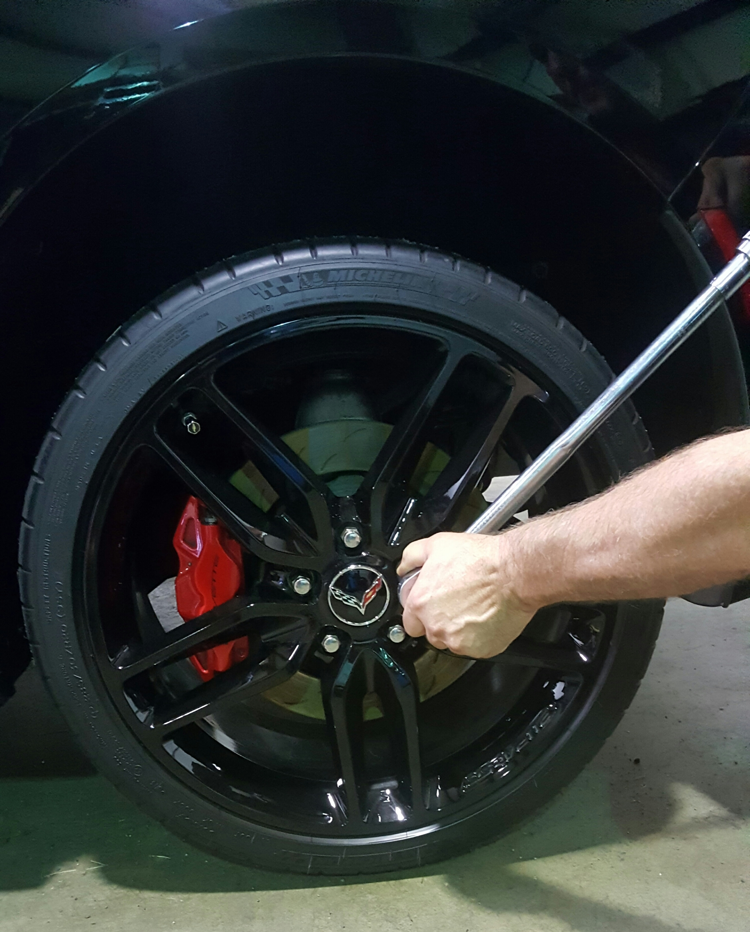 Every single wheel that is removed at Ace's Automotive Complete Auto Care is hand torqued to factory specs to insure there are no future problems such as brake rotor warping or lug stud or nut thread damage.
